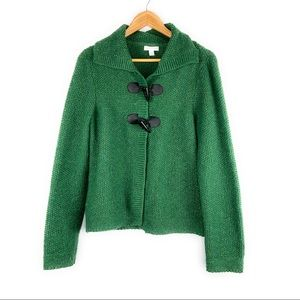 Green Knit Cropped Sweater w/ Toggle Buttons